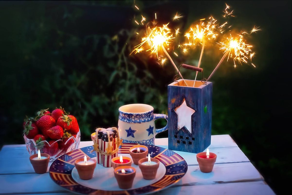 fourth of july picnic display with sparklers
