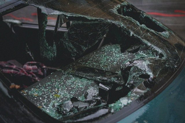 car with broken windshield